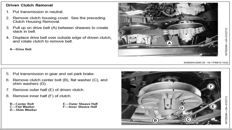 825i Secondary Clutch Removal John Deere Gator Forums